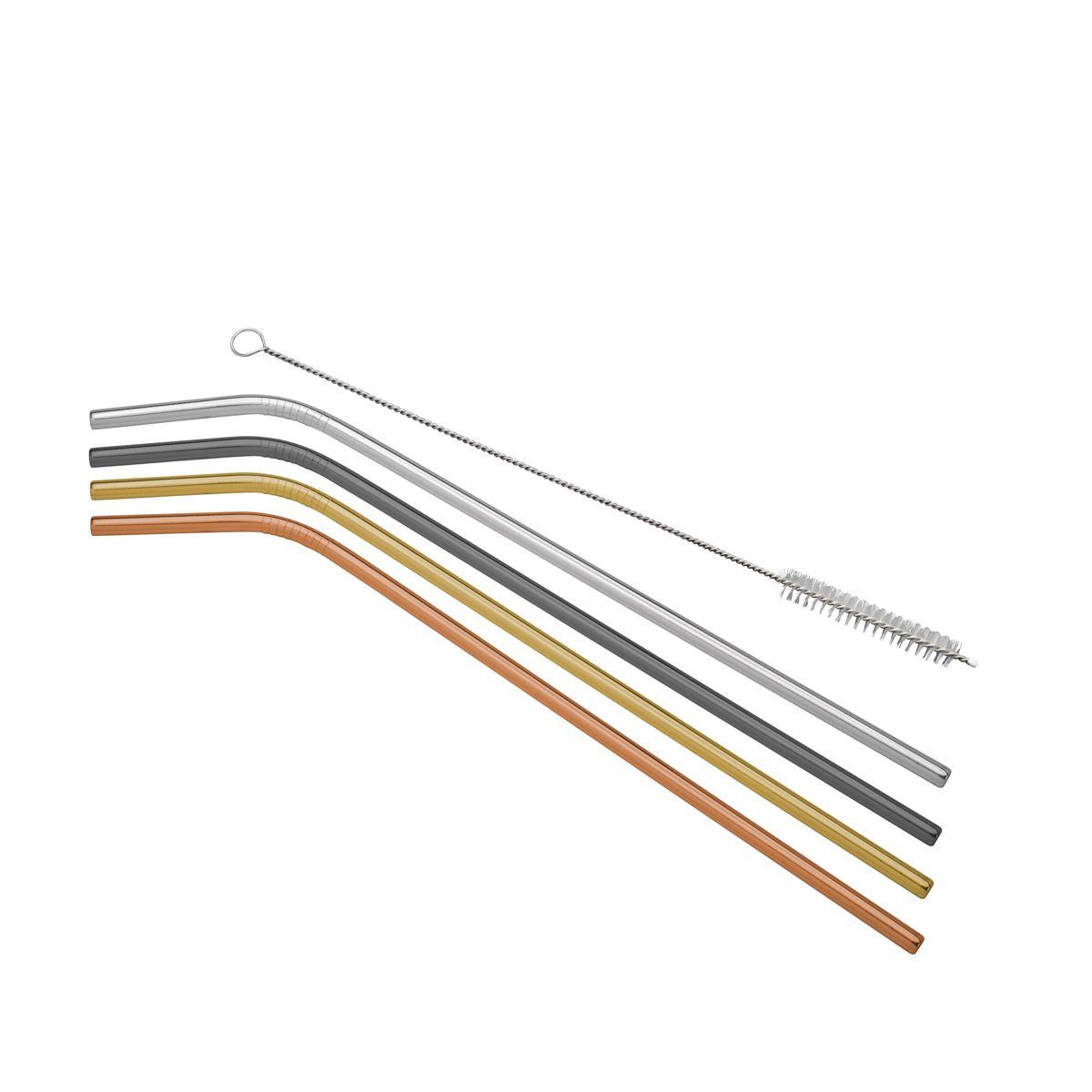 Jg 04 Canudos de Aço Inox Colorido Sortido com Escovinha