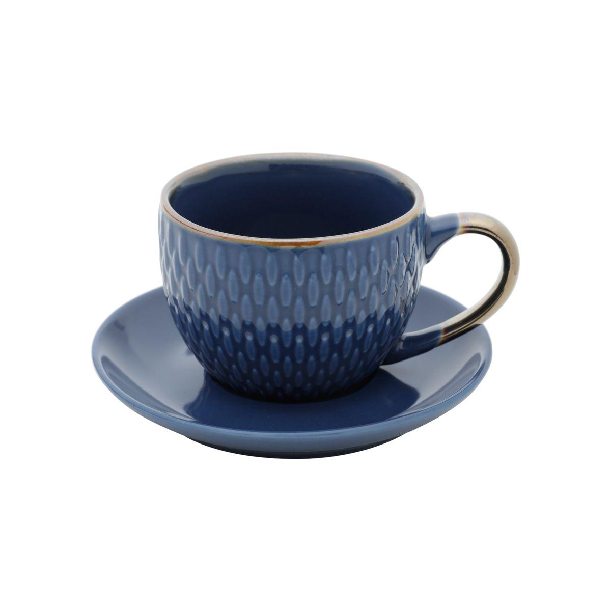 Jg 04 Xícaras de Café com Pires Azul de Porcelana