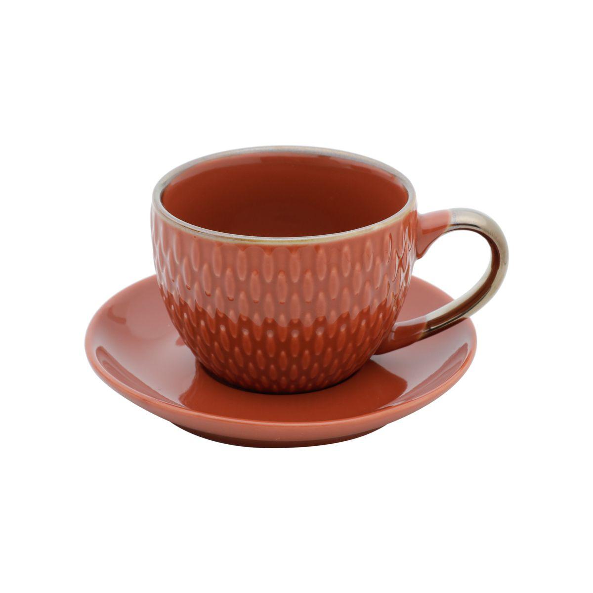 Jg 04 Xícaras de Café com Pires Laranja de Porcelana