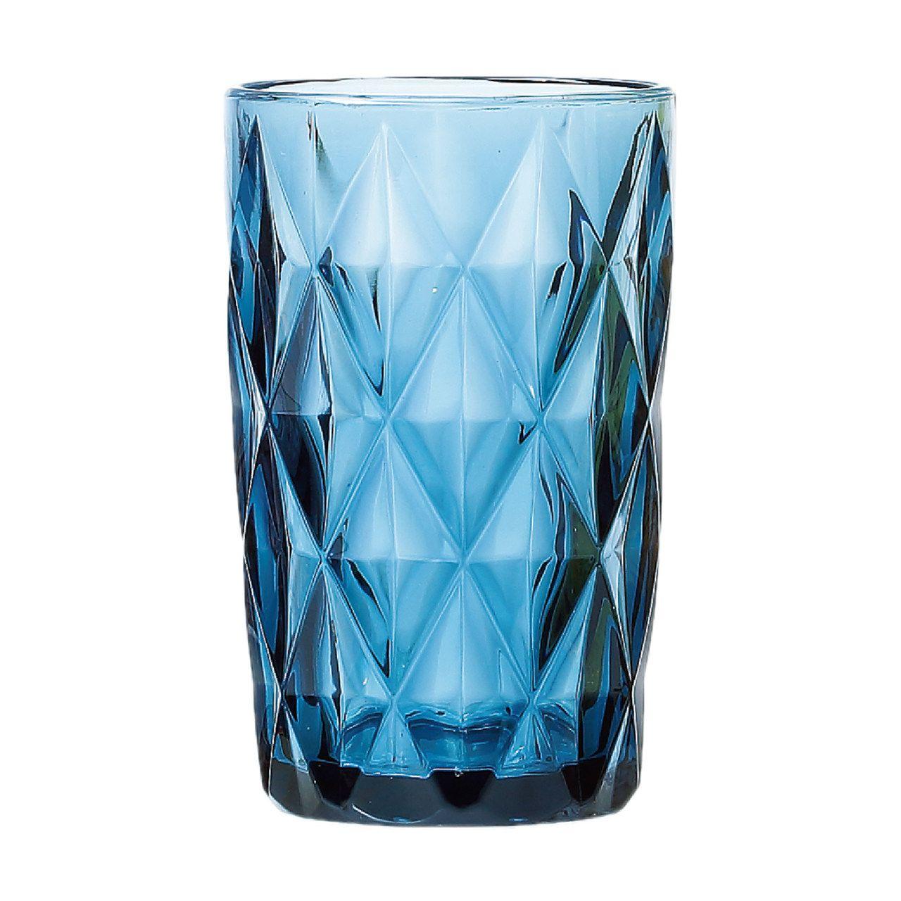 Jg 06 Copos Diamond de Vidro Azul 350ml