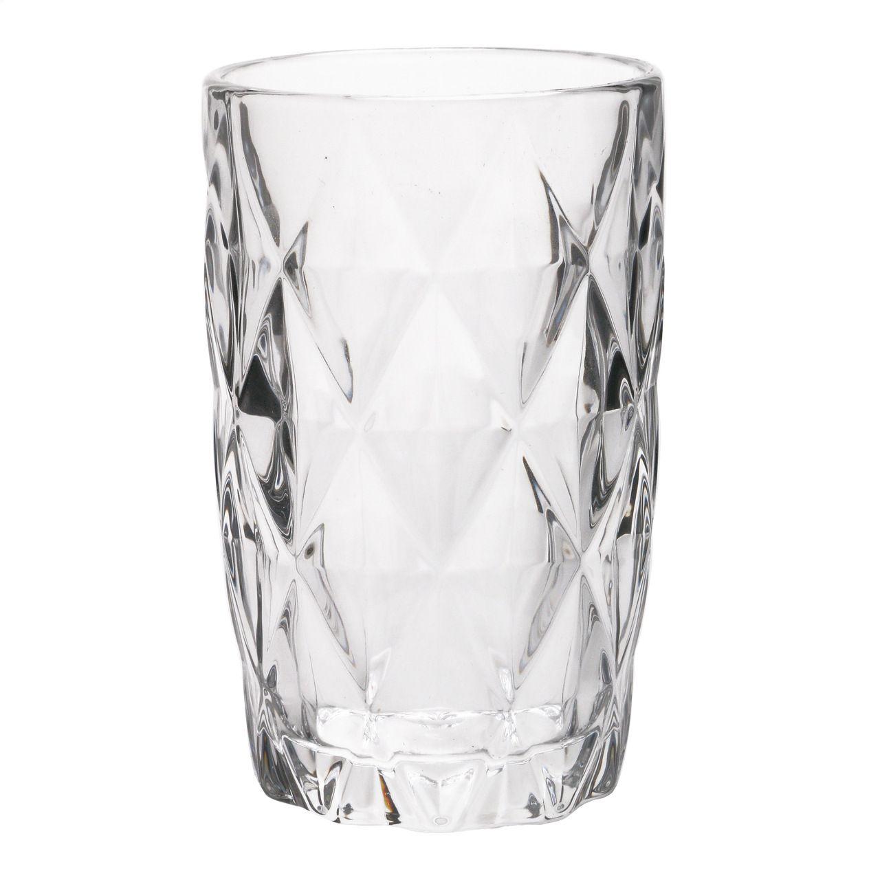 Jg 06 Copos Diamond de Vidro Transparente 350ml