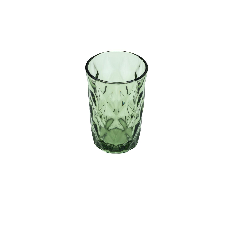 Jg 06 Copos Diamond de Vidro Verde 350ml