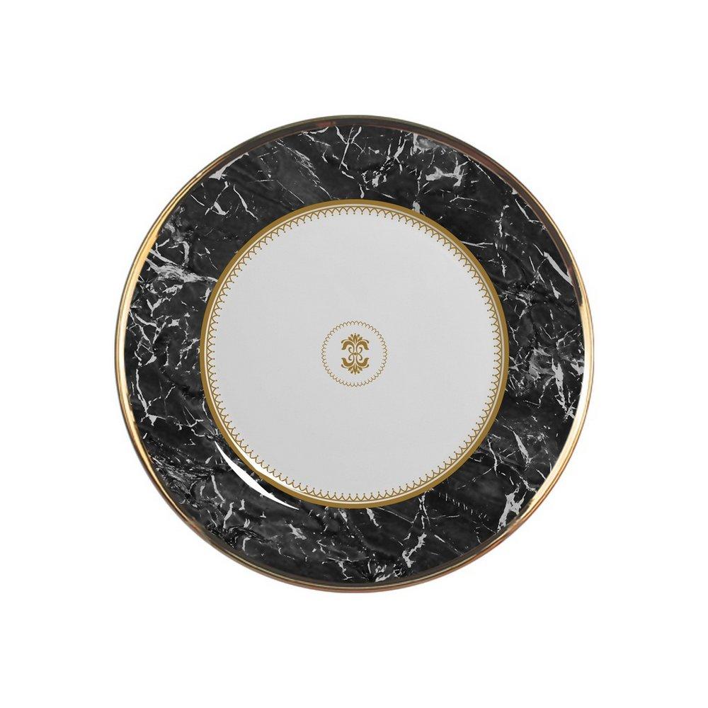 Jg 06 Pratos de Sobremesa Marble Preto