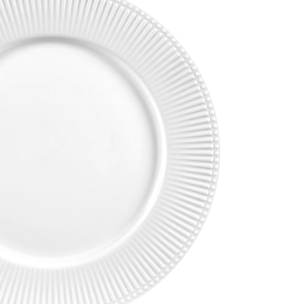 Jg 06 Pratos Raso Minks Branco de Porcelana LHermitage