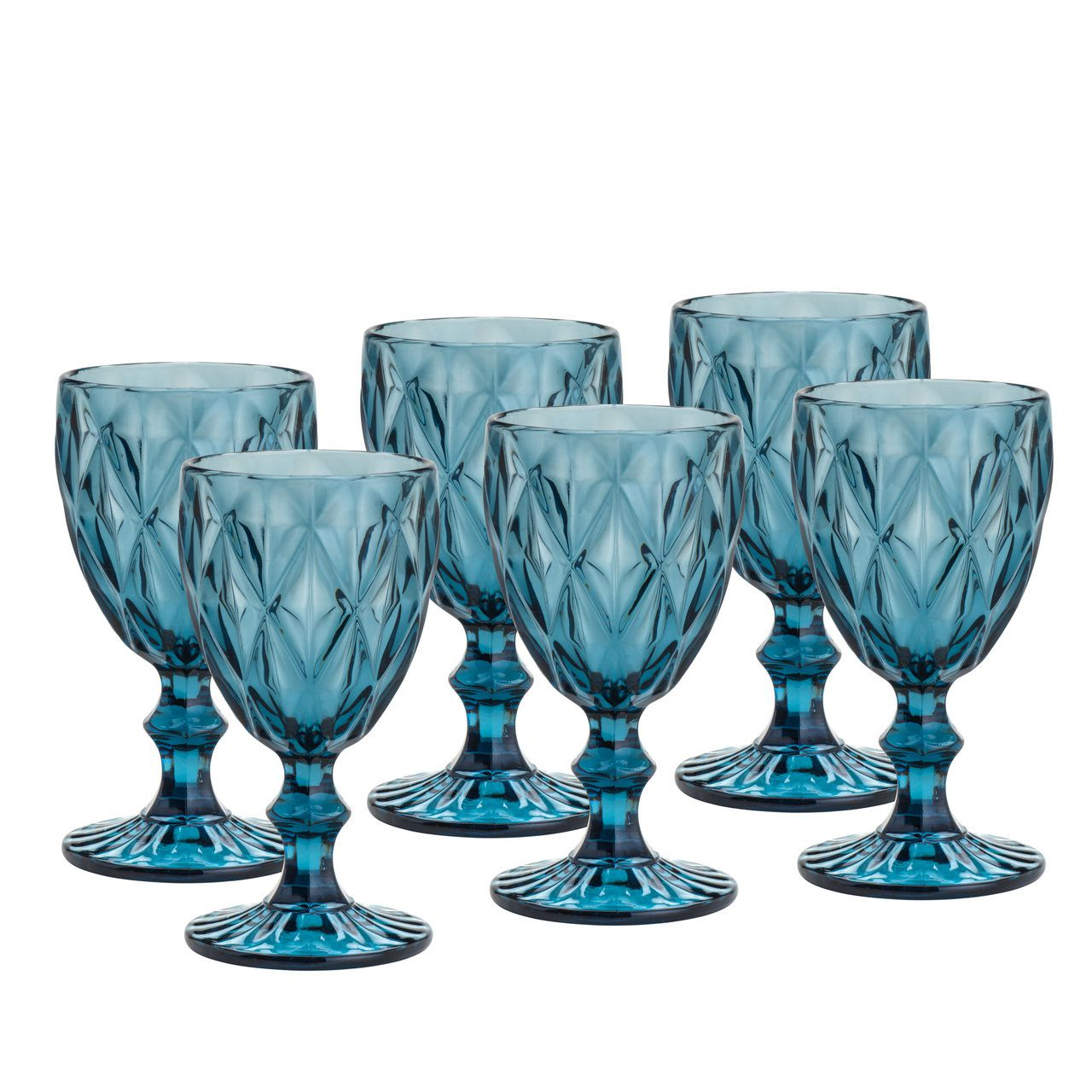 Jg 06 Taças Diamond p/ Água de Vidro Azul 325ml