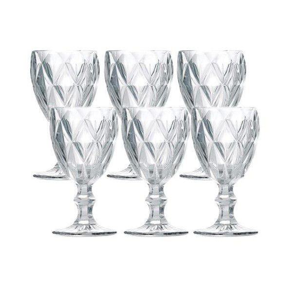 Jg 06 Taças Diamond p/ Água de Vidro Transparente - 265ml