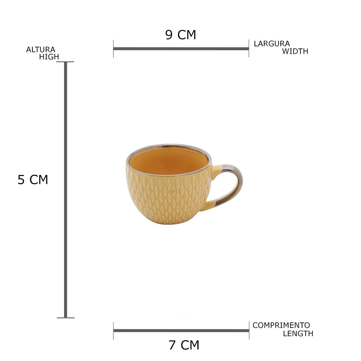 Jg 06 Xicaras de Cafe Amarela de Porcelana 90ml