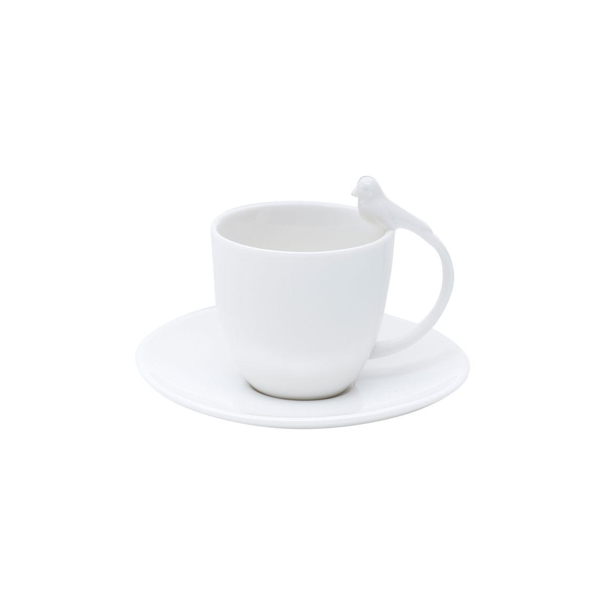 Jg 06 Xícaras de Café Bird de Porcelana Branca Wolff 85ml
