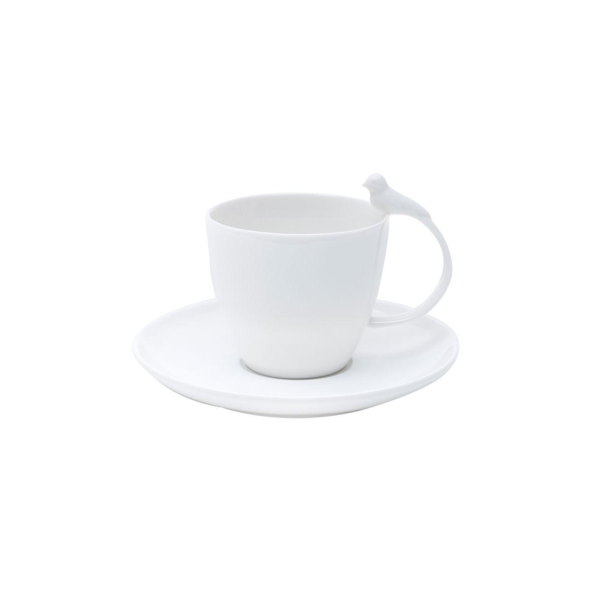 Jg 06 Xícaras de Chá Bird de Porcelana Branca Wolff 200ml