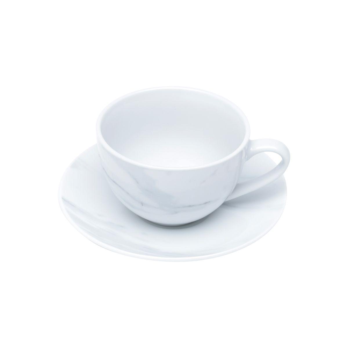 Jg 06 Xícaras de Chá Calacata de Porcelana Wolff