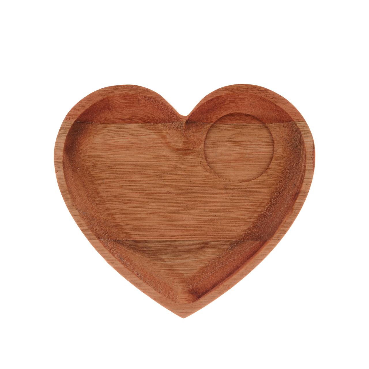 Jg Xicara de Coração com Prato de Madeira