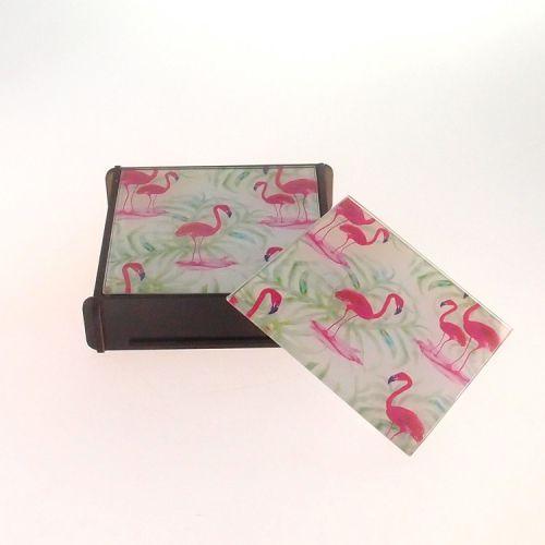 Porta Copo de Vidro Flamingos e Folhas