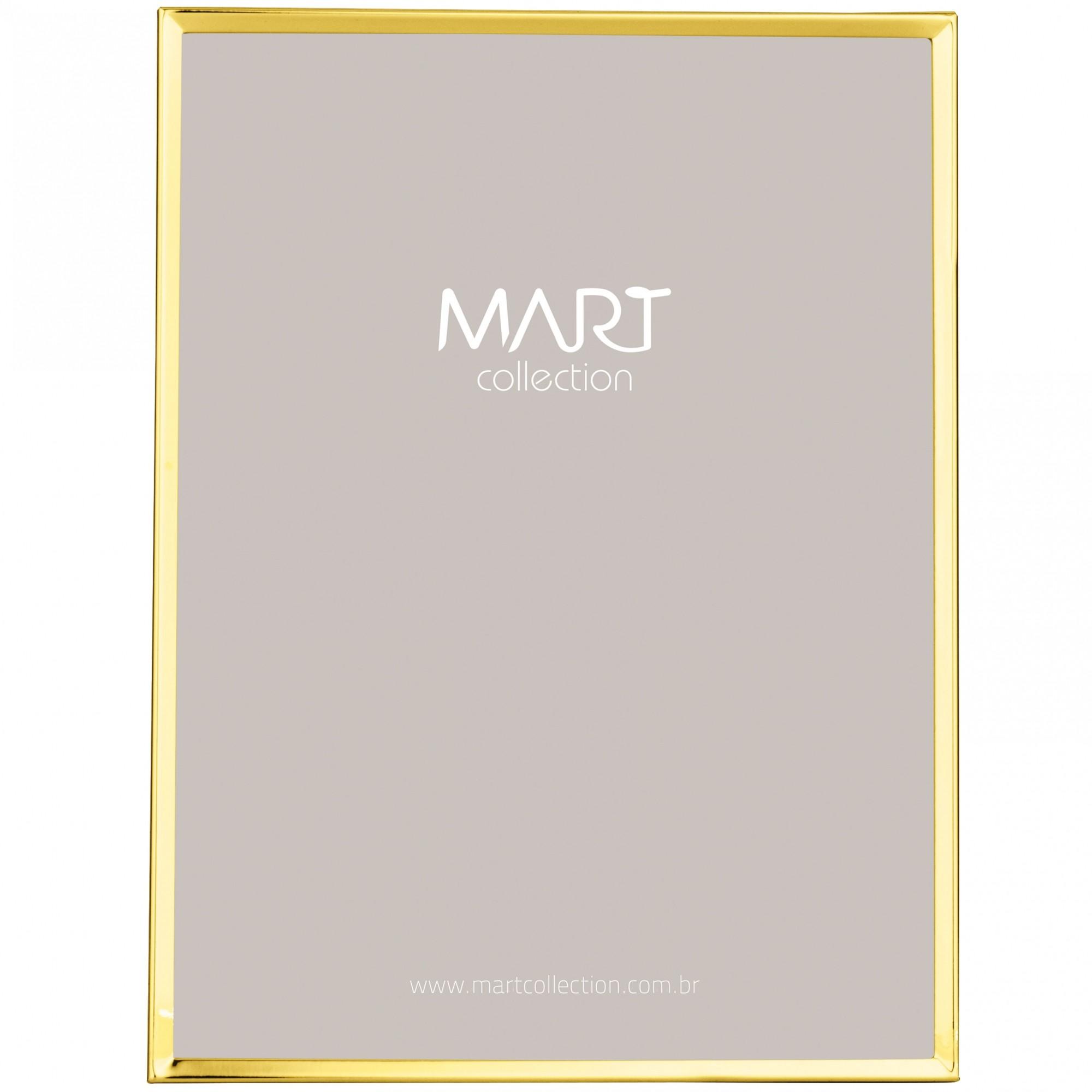 Porta Retrato Dourado de Metal Liso 10x15
