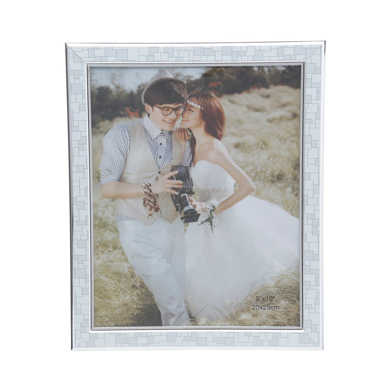 Porta Retrato Geométrico Branco e Cinza 15x20