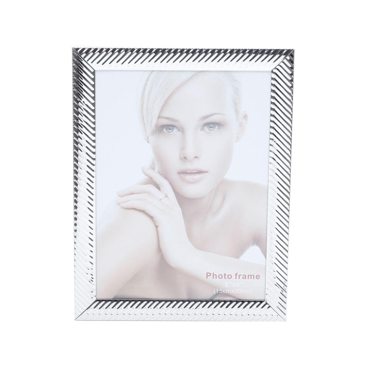 Porta Retrato Prata Aço Lines 13x18cm