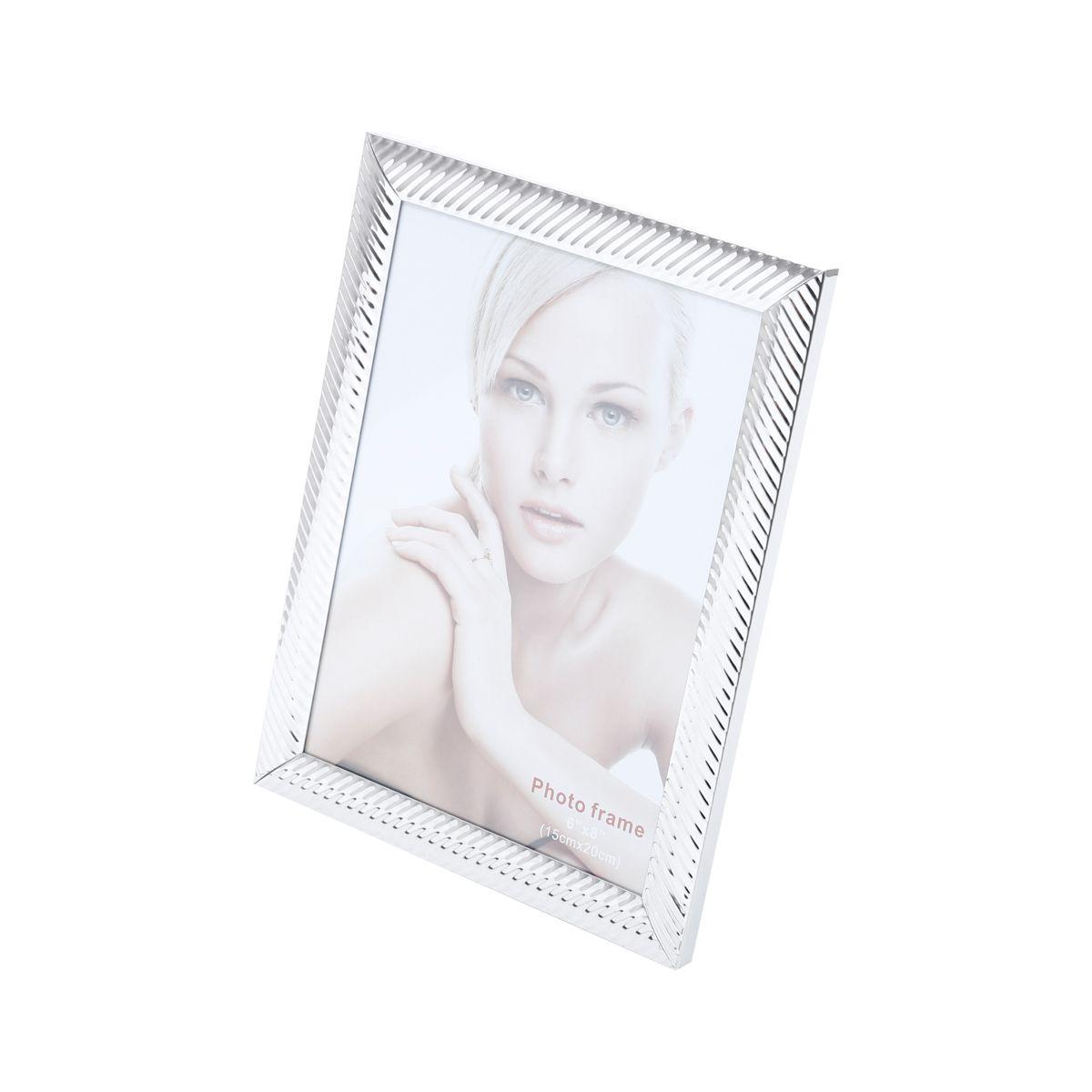 Porta Retrato Prata Aço Lines 15x20cm