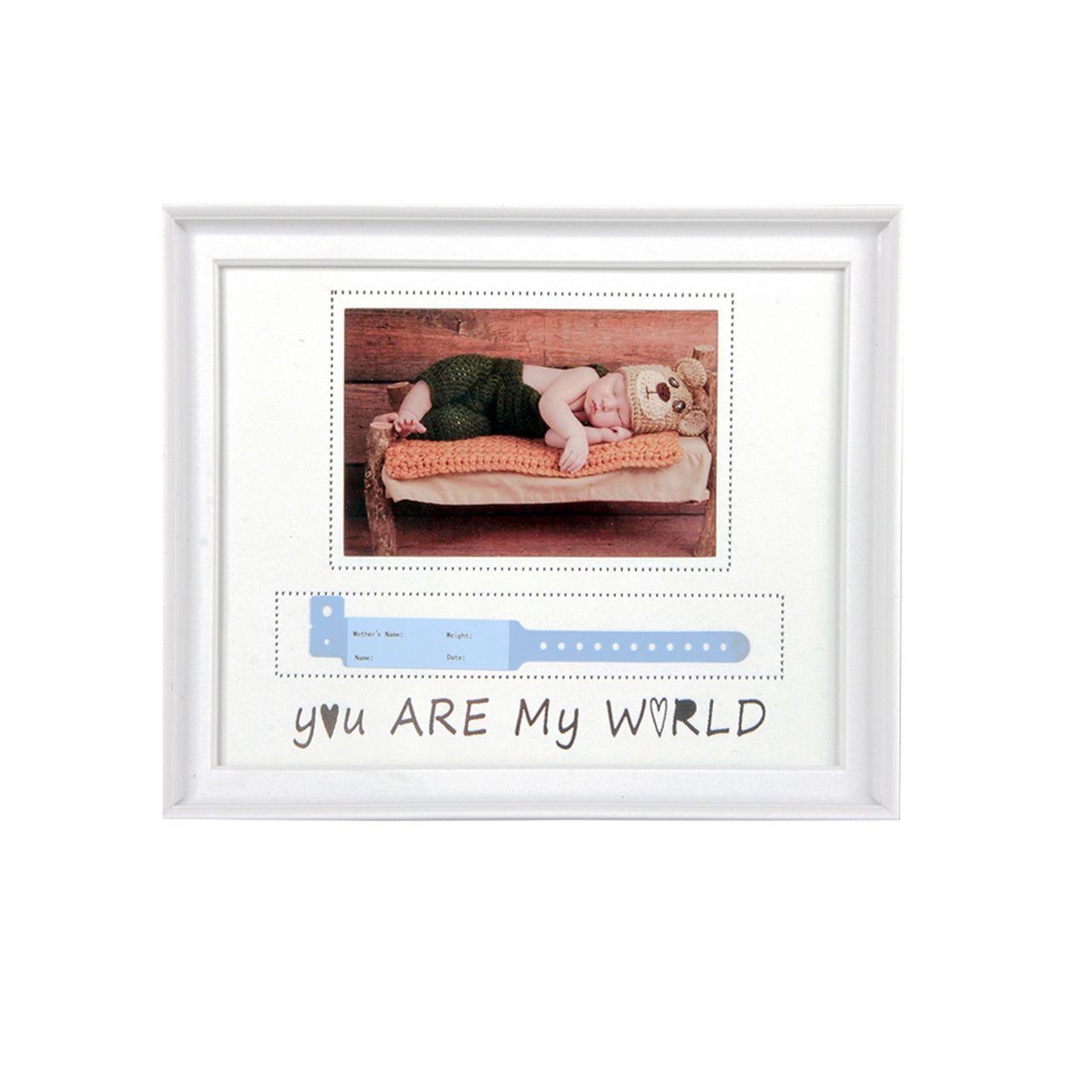 "Porta Retrato Recem Nascido ""You Are My World"""