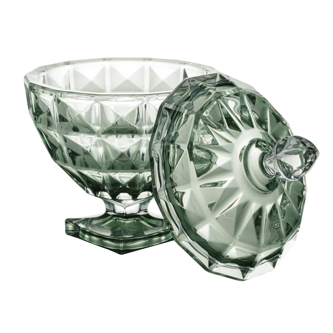 Potiche de Cristal com Pé e Tampa Diamant Verde 24cm Wolff