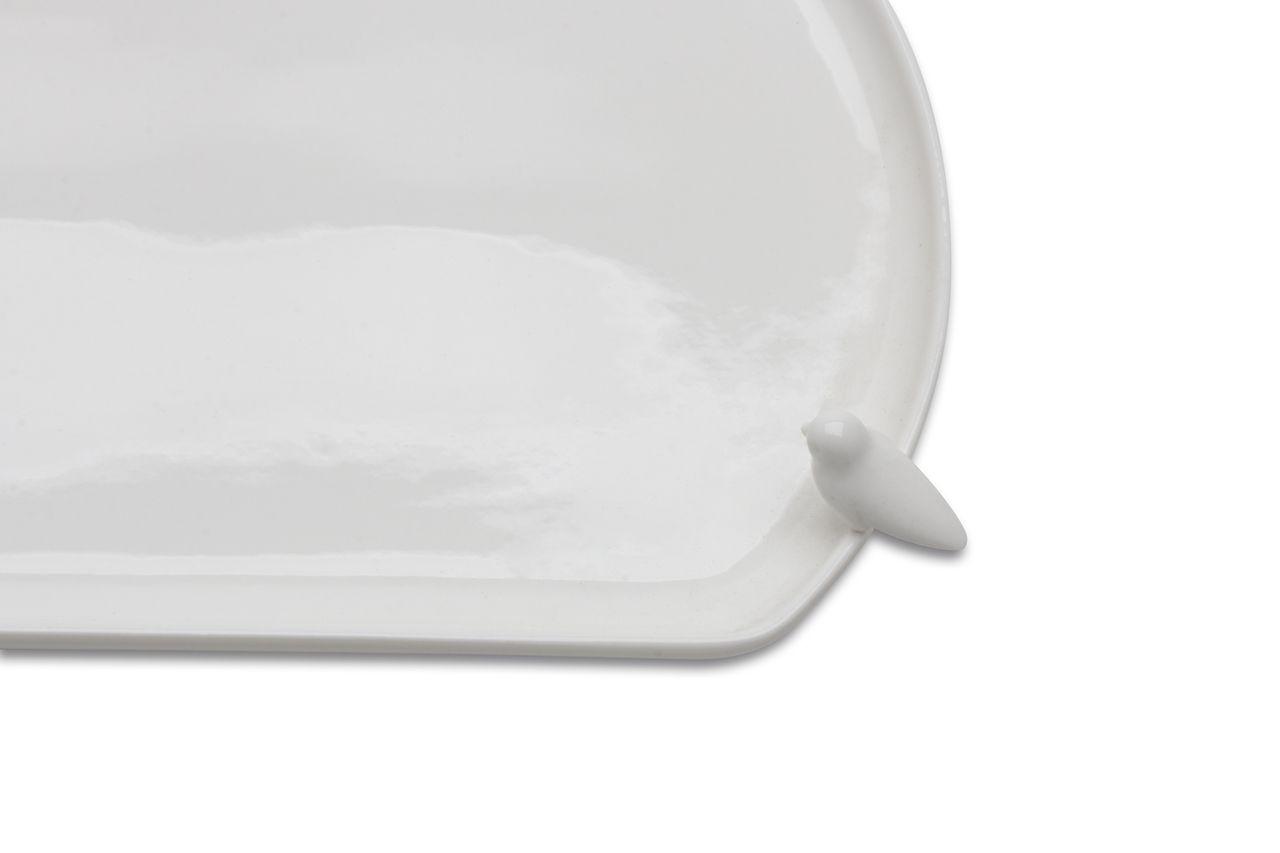 Prato Bird Retangular 41cm Branco de Porcelana Wolff