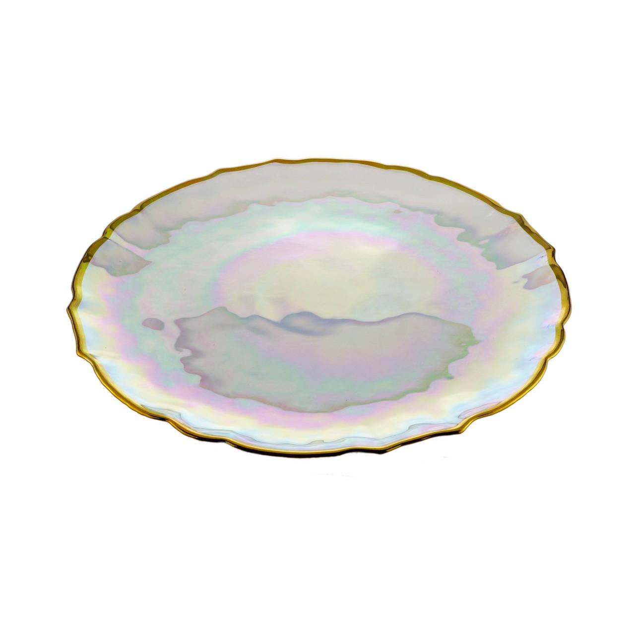 Prato de Bolo Rainbow com Borda Dourada 33cm