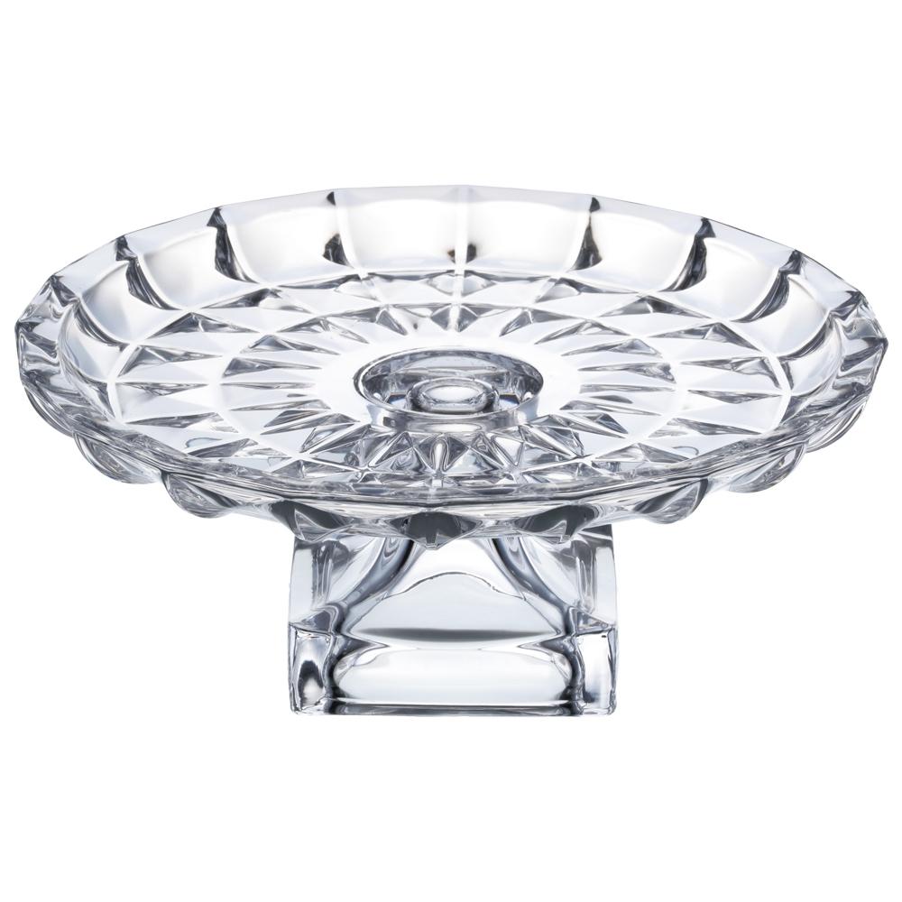 Prato para Bolo Aquamarine com Pé em Cristal Transparente 29x12