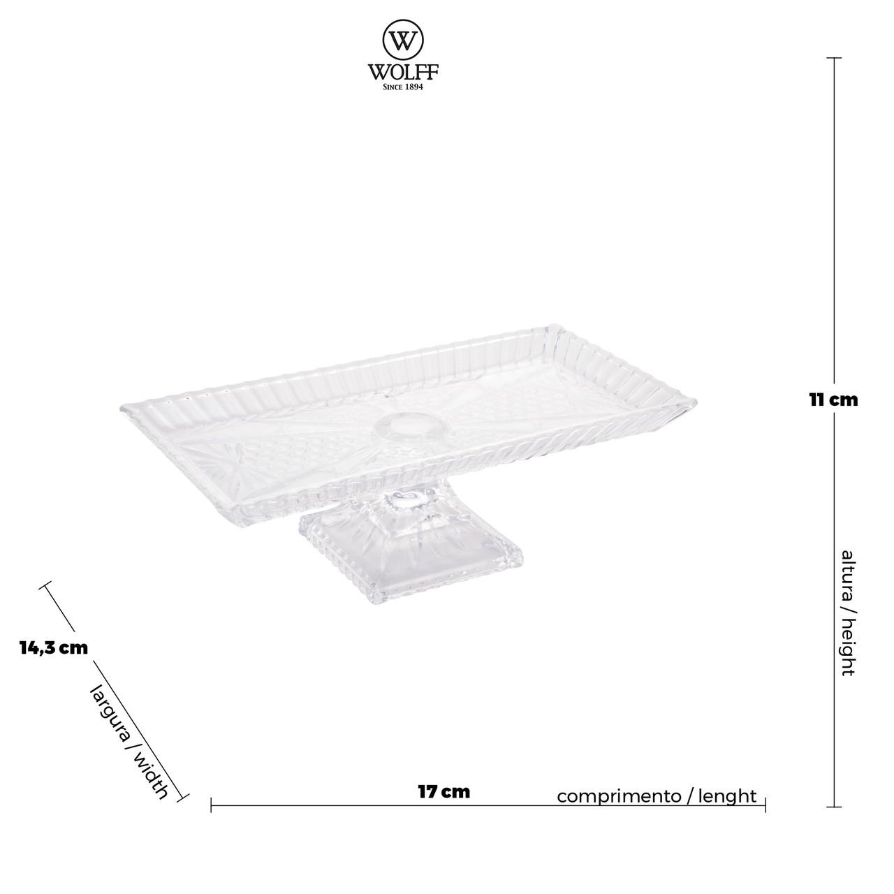Travessa de Cristal Transparente Retangular Alta Wolff