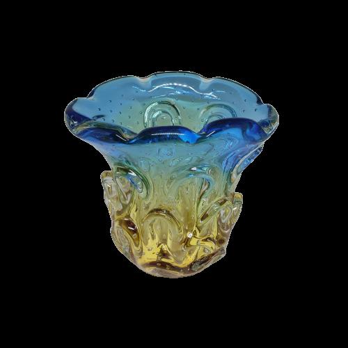 Vaso de Murano Azul com Ambar
