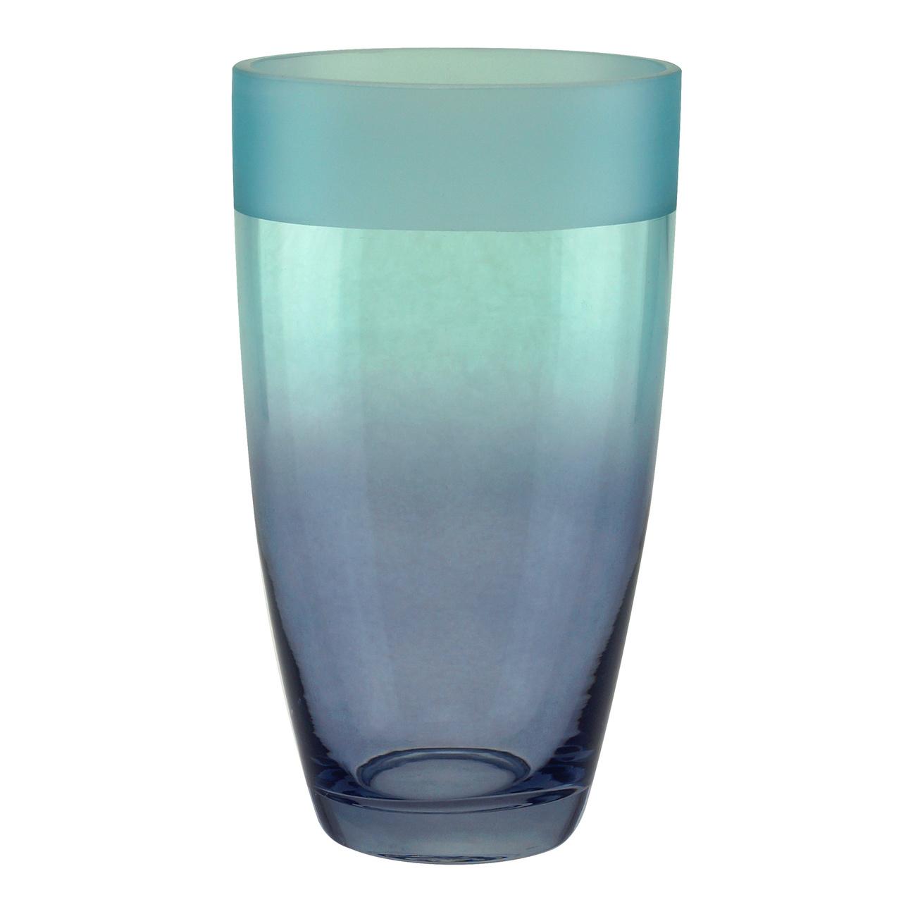Vaso de Vidro Degrade Azul e Lilas  21cm