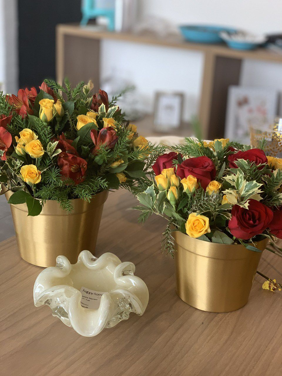 Vaso Dourado de Alumínio 12cm