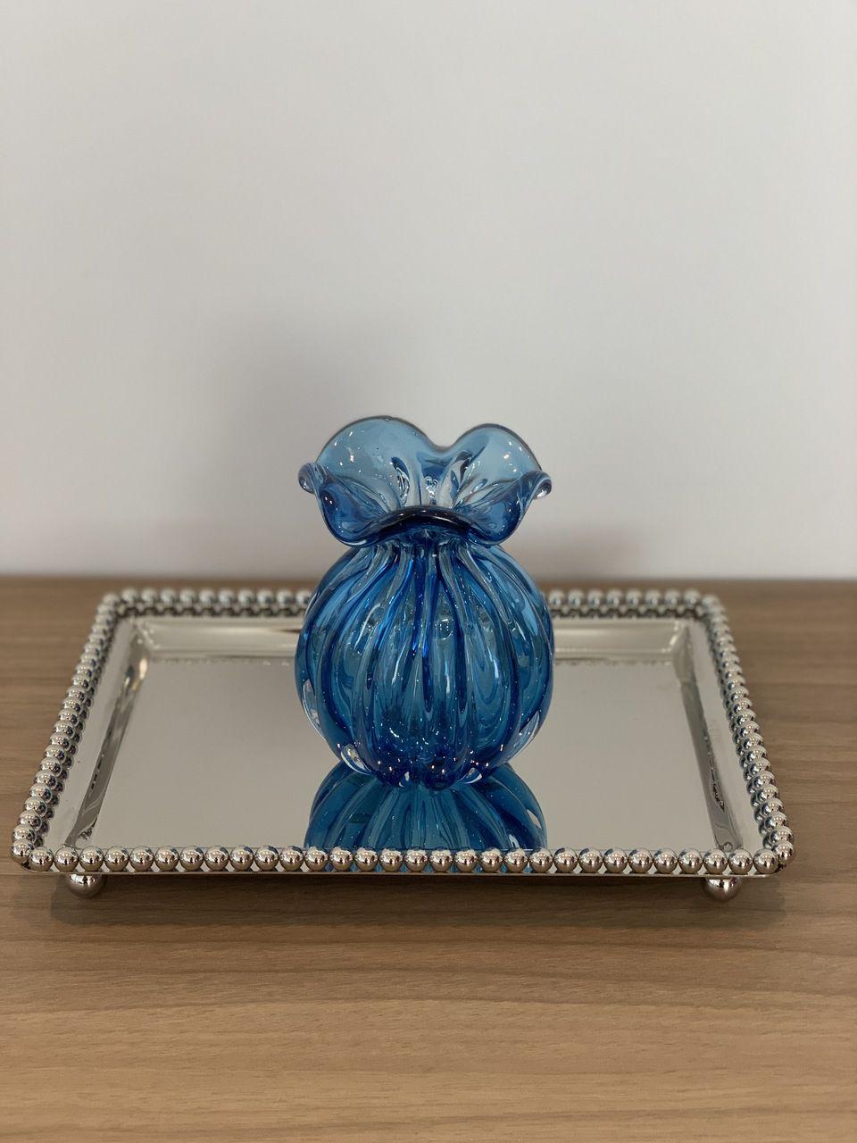 Vaso Trouxinha de Murano Azul 10cm