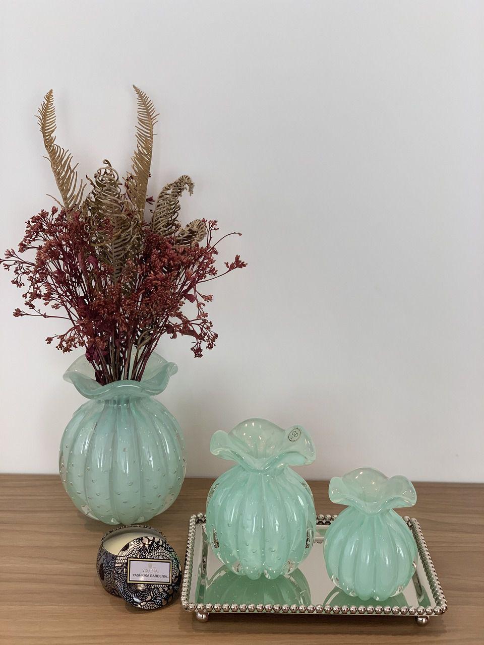 Vaso Trouxinha de Murano Verde Menta 15cm