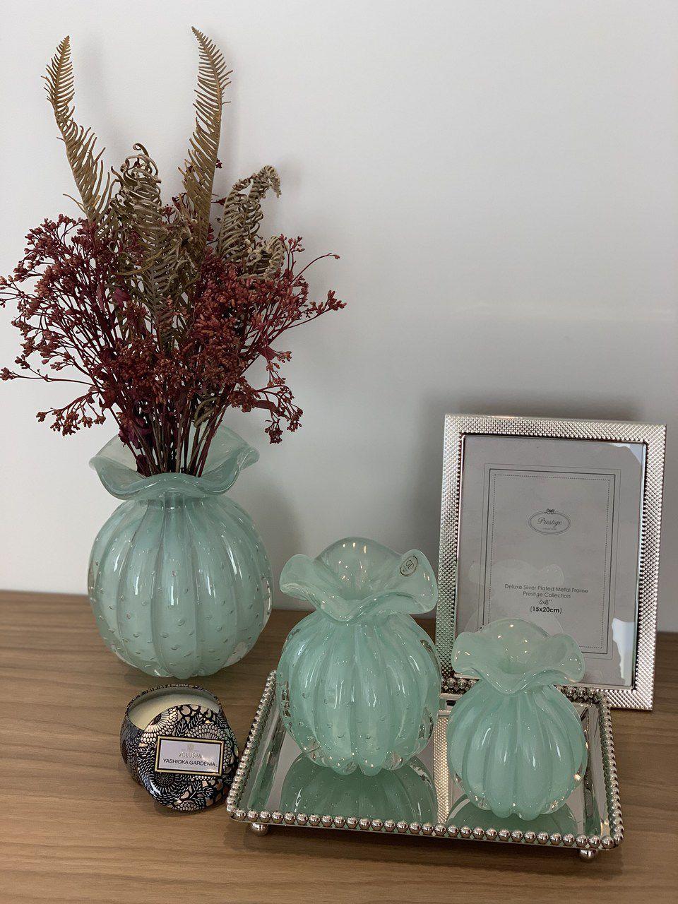 Vaso Trouxinha de Murano Verde Menta 20cm