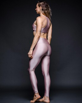 Top Cropped Lycra Ouro Rosa