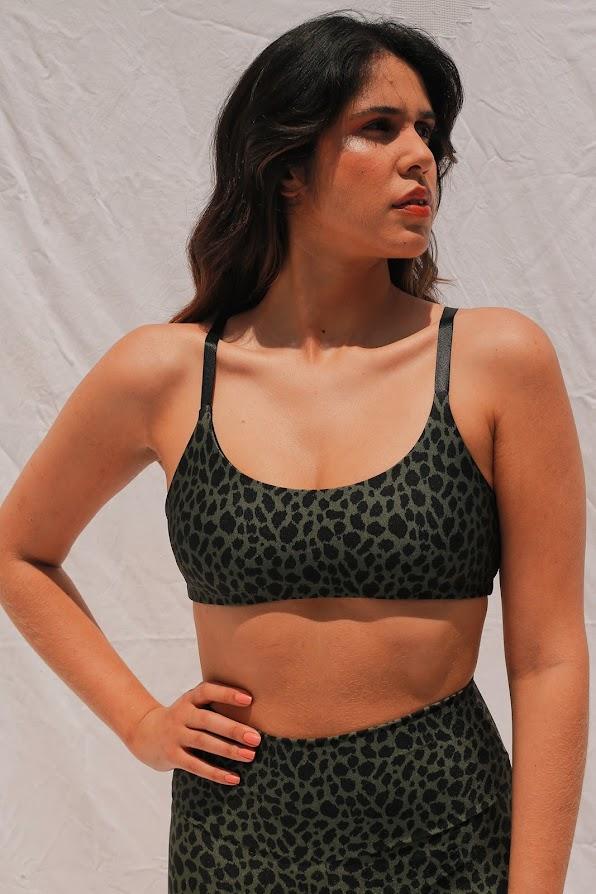 Top Alça Regulável Leopardo Verde