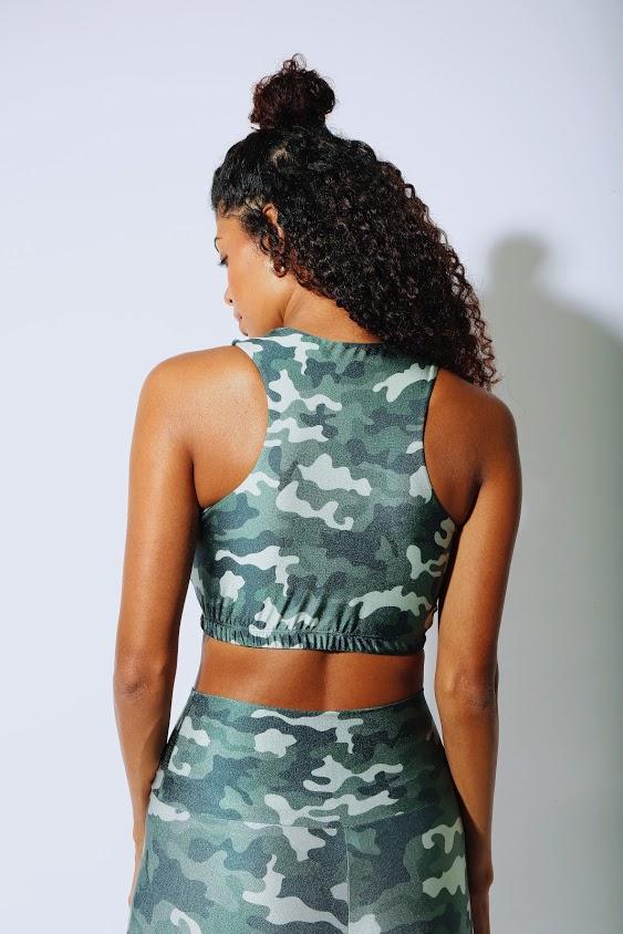 Top Cropped Camuflado Verde