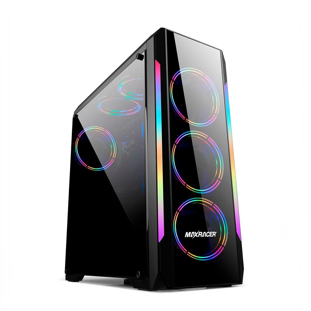 Gabinete Gamer MaxRacer Bunker - Lateral Vidro Temperado - Dual Fan RGB
