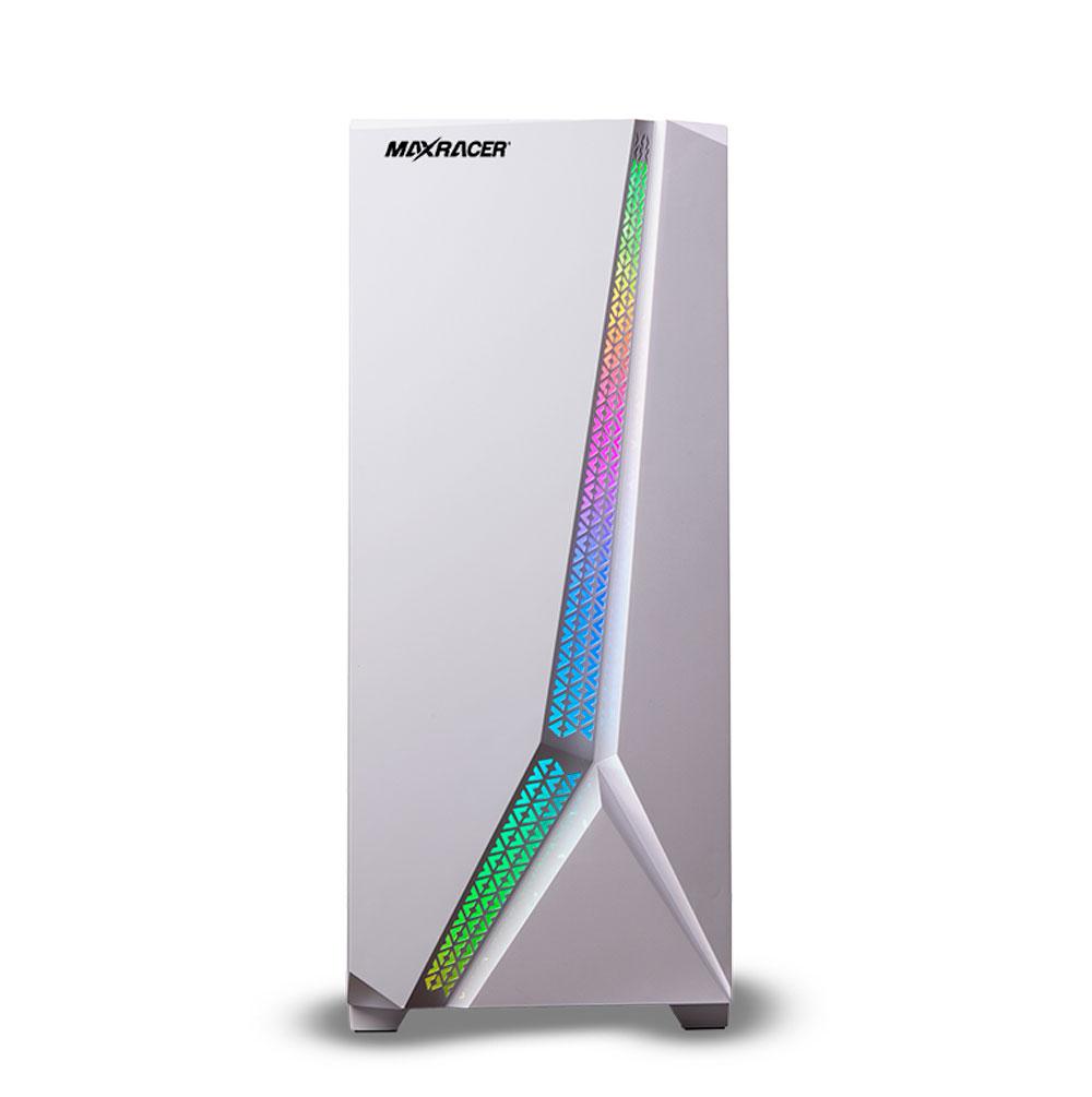 Gabinete  Gamer MaxRacer White - LED RGB - Lateral Vidro Temperado Com 1 Fan RGB