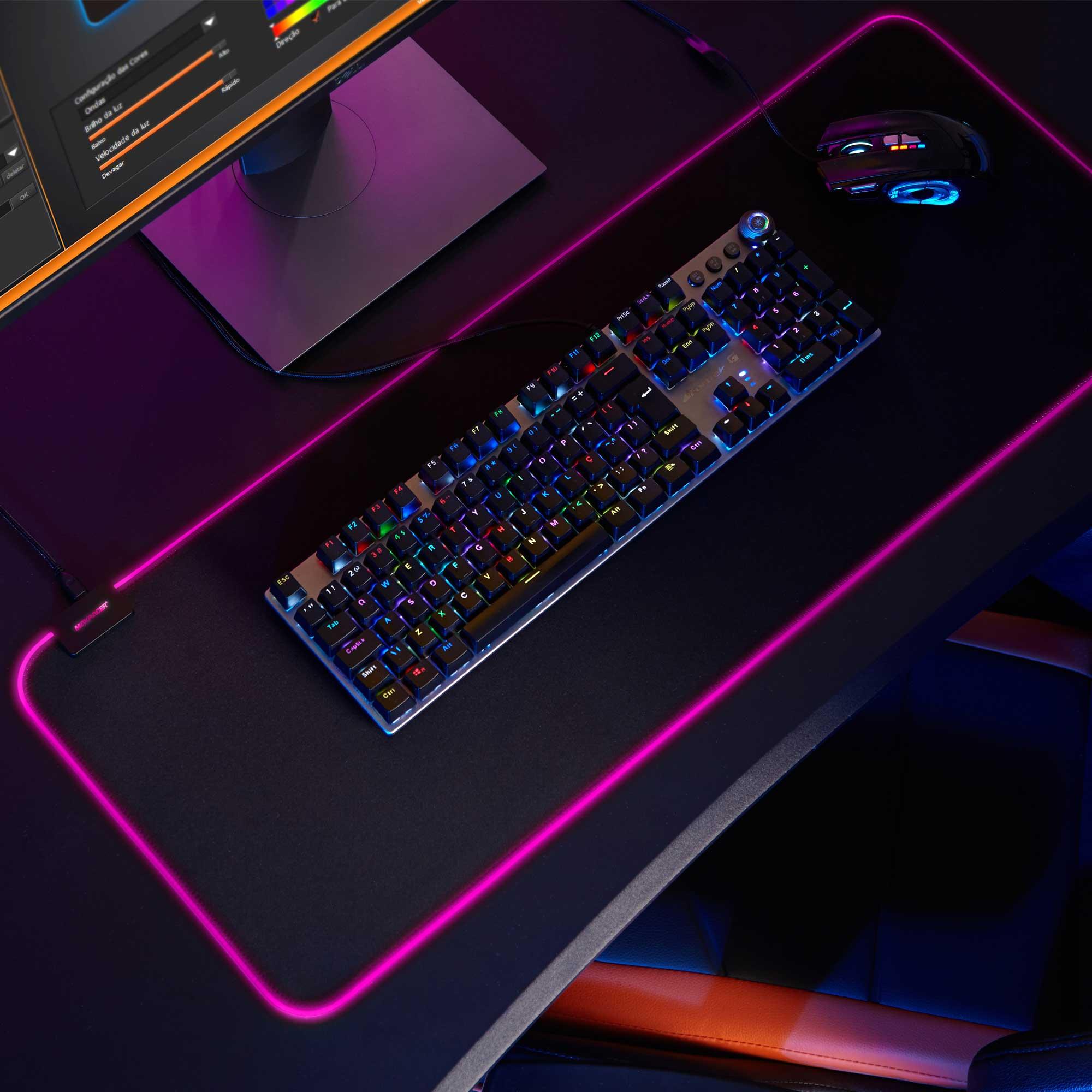 Mouse Pad Gamer RGB MaxRacer Original com SoftWare