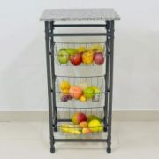 Fruteira Preto Craqueado com 3 cestos
