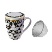 Caneca em porcelana com tampa e infusor