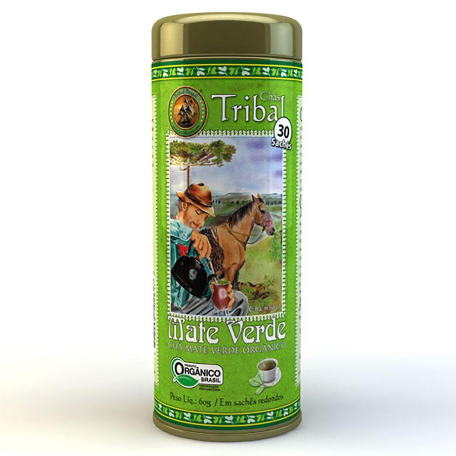 Chá Mate Verde Orgânico. Lata 30 Sachês.