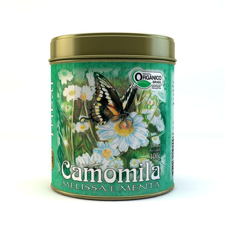Chá Orgânico Camomila Melissa e Menta. Granel 100g.