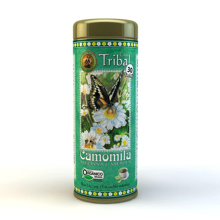 Chá Orgânico Camomila Melissa Menta - Tribal - Lata 30 sachês.