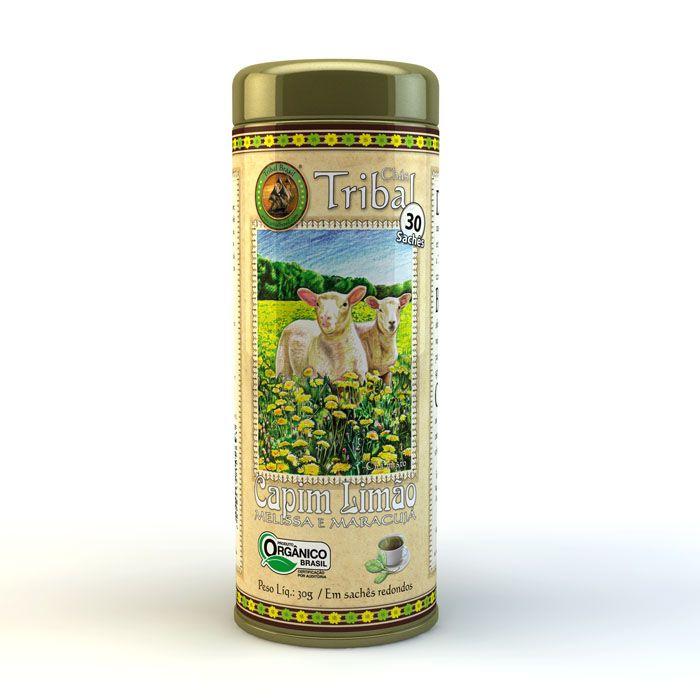 Chá Orgânico Capim-limão Melissa Maracujá - Tribal 30 sachês.