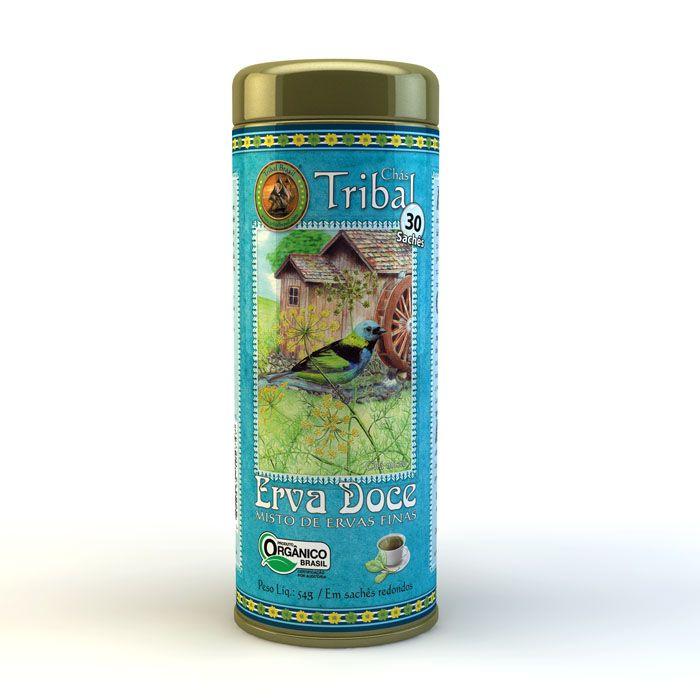 Chá Orgânico Erva Doce e Ervas Finas - Tribal - Lata 30 sachês.