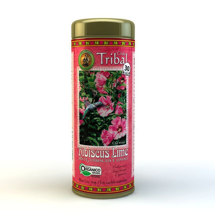Chá Orgânico Hibiscus Lime - Tribal - Lata 30 sachês.