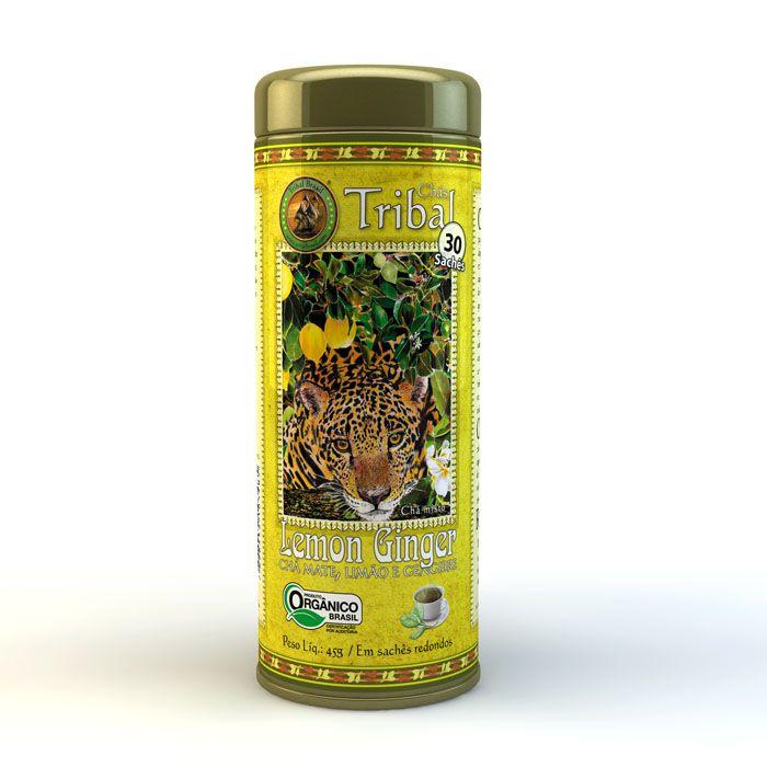 Chá Orgânico Lemon Ginger - Tribal - Lata 30 sachês.