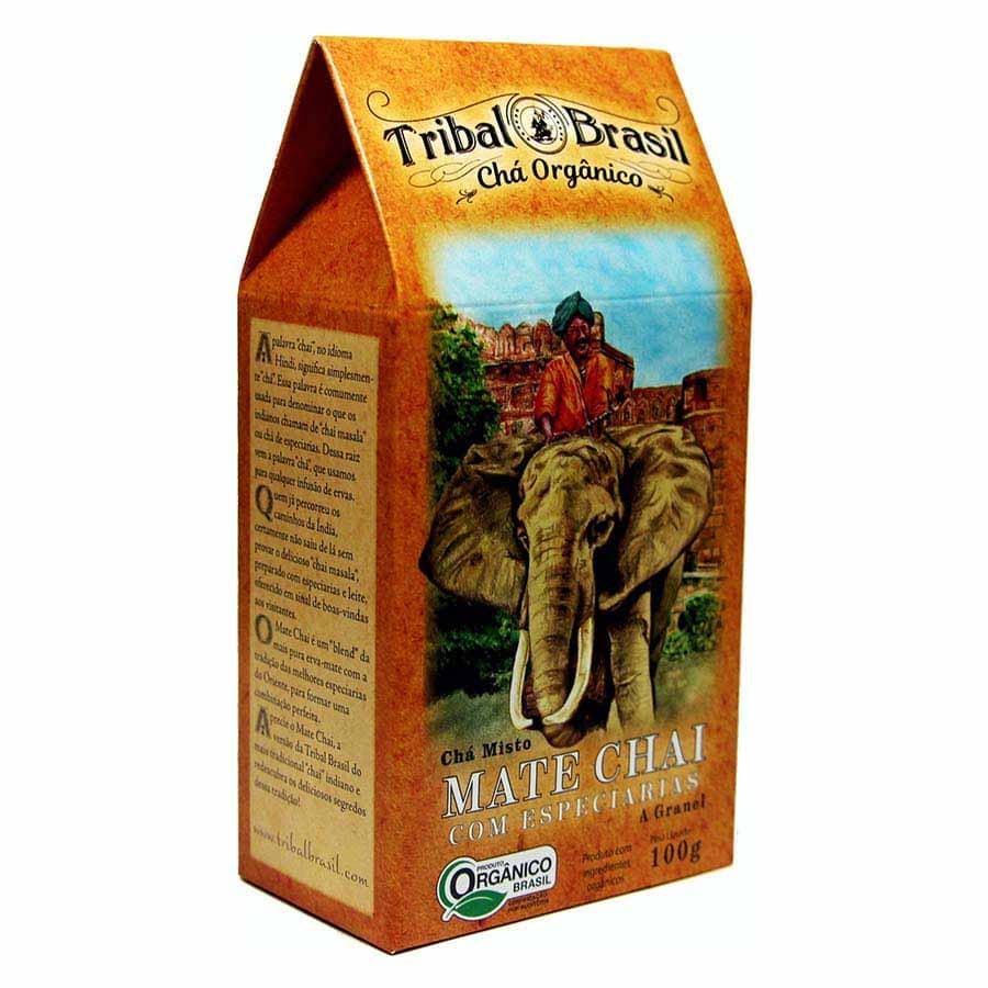 Chá Orgânico Mate Chai e Especiarias - Tribal - Caixa a Granel 100g