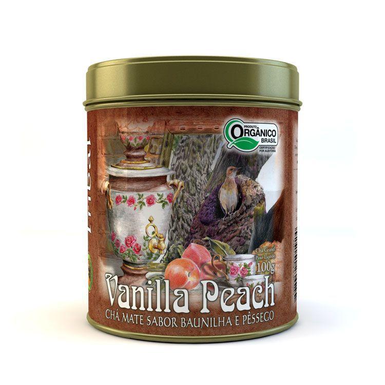 Chá Orgânico Mate Vanilla Peach. Lata 100g Granel.