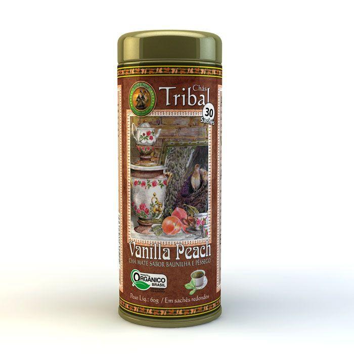 Chá Orgânico Mate Vanilla Peach - Tribal - Lata 30 sachês.